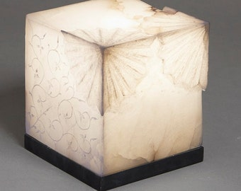 Marble Table Lamp Square Cube Small Living Room Lamp Dining Room Lamp Bedside Lamp White Lamp