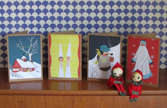 Christmas greetings cards, pack of 4 Scandi Mid Century inspired - German smoker man, Father Christmas, House in snow, Angels Carolers