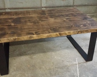 Awesome Coffee Table   Plank Style Rustic Coffee Table   Metal Legs