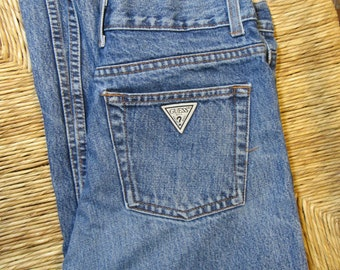Vintage Guess 28 x 24 High Waist, 1980s 1990s Mom Jeans, Cropped, 4 to 6