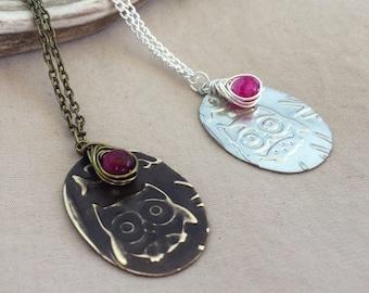 Owl Necklace - Owl Jewelry - Owl Pendant - Owl Charm Necklace - Bird Necklace - Silver Owl Necklace - Antique Owl Necklace - Agate Gemstone