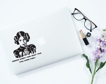 Star Wars Decal Princess Leia Laptop Decal MacBook decal Stick Figure Family Decal Star Wars Car Decal Laptop Sticker Star Wars 93