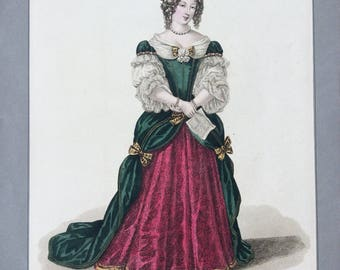 Early 19th Century Antique HANDCOLOURED ENGRAVING - Madame De GRIGNAN, by M. Gatine, after Louis-Marie Lante, Fashion, Costume, Dress Print