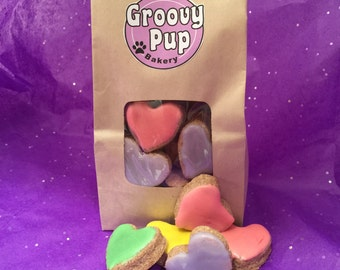 Bag O' Hearts Dog Treats,Grain Free, Peanut Butter, or Whole Wheat, Homemade Dog Treat, Fresh,Allergy Friendly, Crunchy or Soft, Puppy