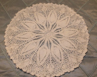 "Vintage 15"" White Crocheted Pillow cover"
