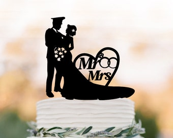 policeman Wedding Cake topper with mr and mrs,  bride and groom silhouette  wedding cake topper with heart and wedding ring,