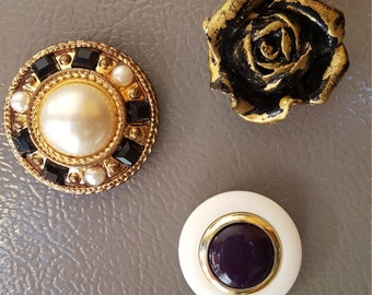 Refrigerator Magnet Bling from Vintage reclaimed clip on earrings .. 3 for 5.00