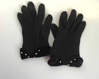 Vintage Black Cotton Gloves with Rhinestones and Velveteen Cuff, Ladies or Girls, Retro Glam