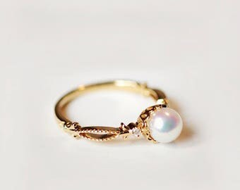 pearl engagement ring 18k gold vintage pearl engagement ring 14k rose gold diamond antique akoya engagement ring 18k pearl wedding ring - Pearl Wedding Ring Sets
