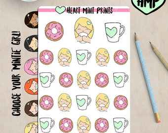 Coffee and Donuts Planner Stickers / Could be Tea and Donuts / Planner Stickers for your Planner