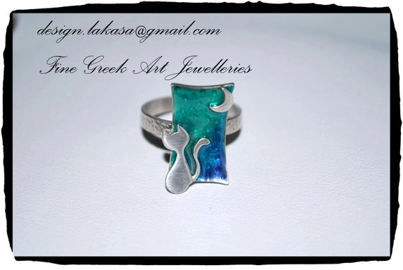 Ring Blue Green Enamel Cat Moon Sterling Silver Handmade Jewelry Fine Greek Art Best Gift Ideas for her Birthday Anniversary Romantic Woman
