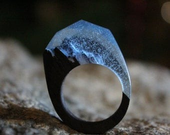 """Walnut Resin Wood Ring """"Blue Rock"""" Wooden Jewelry  Resin Jewelry Wooden Fashion Jewelry Gift For Her Womens Wooden Ring Wood Ring Resin"""