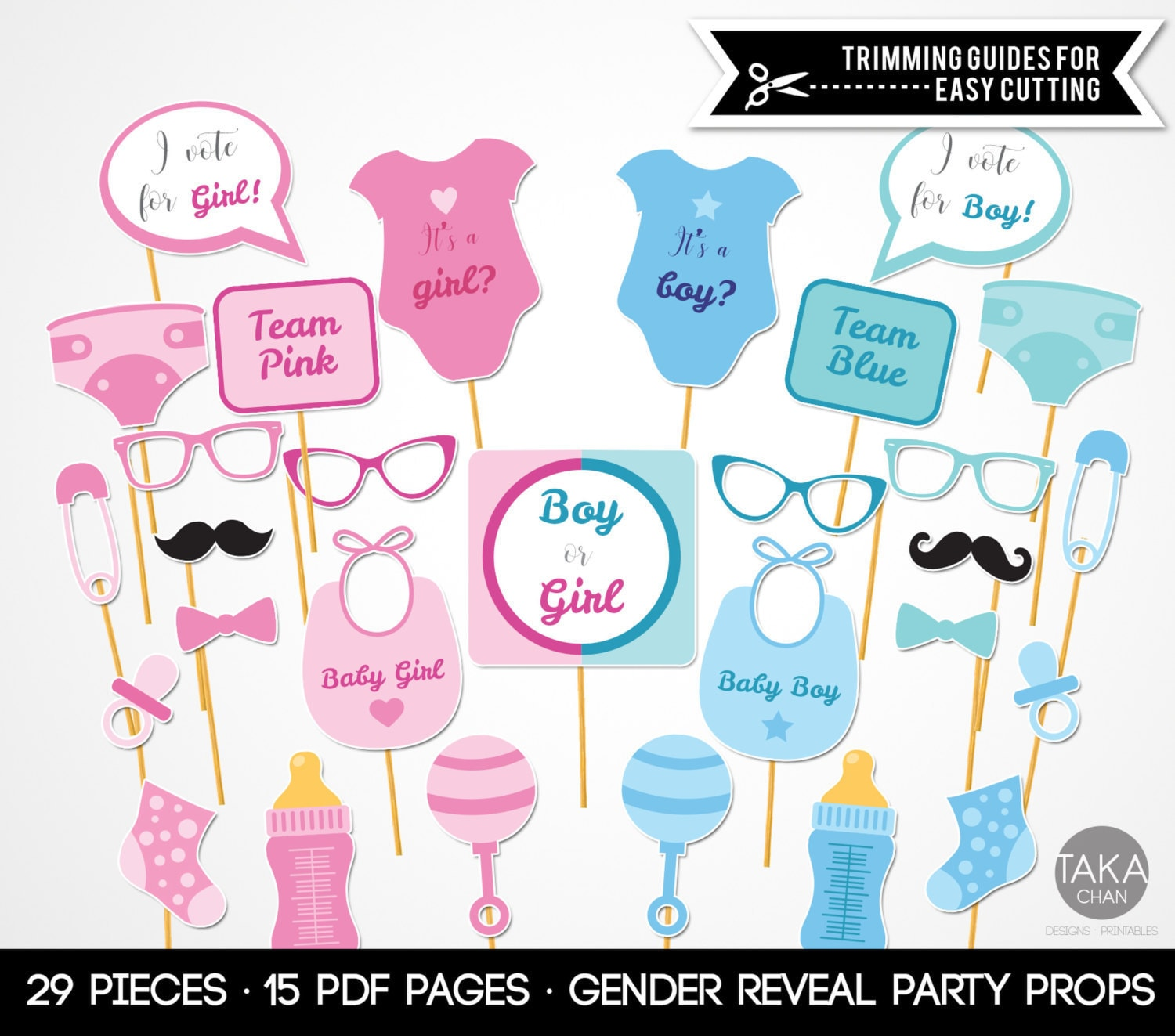 Delicate image with gender reveal printable