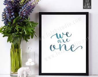 Motivational Quote, Inspirational Printable, Modern Wall Art, Printable Blue Watercolor Poster