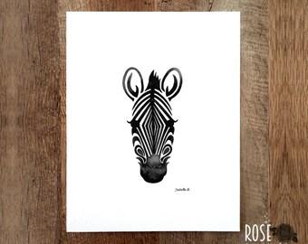 Zebra wall art, Black and white print