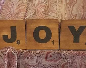 """Enlarged Scrabble Pieces """"JOY"""""""