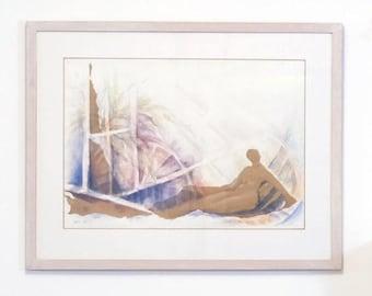 Figure Painting, Original Watercolor ,Watercolor Painting, Abstract Watercolor, Painting Woman, Blue Painting, Watercolor art, Wall Art