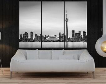 toronto skyline wall art canvas, toronto photo Print, extra large canvas art, black and white wall art toronto skyline art print 9s10