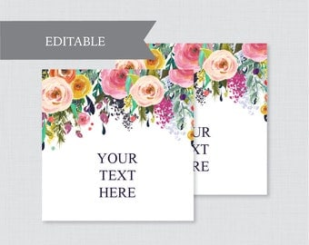 EDITABLE Wedding Tags - Printable Floral Wedding Labels, Colorful Flower Square Wedding Buffet Labels or Tags, Editable Tags Wedding 0003-B
