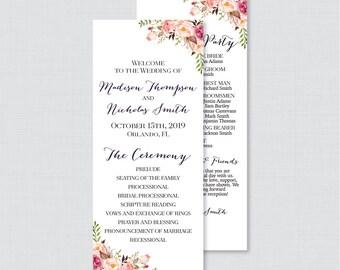 Printable OR Printed Wedding Programs - Pink Floral Wedding Ceremony Program Cards, Personalized Wedding Program Template Rustic Flower 0004