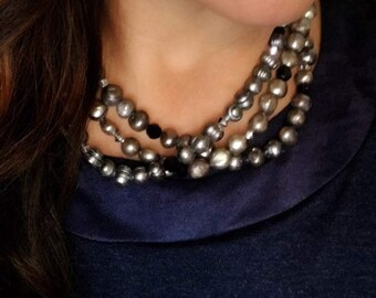 "Necklace, 3 Strand Grey Freshwater Pearl and Black and Silver Swarovski Crystals, 17-19"" adjustable"
