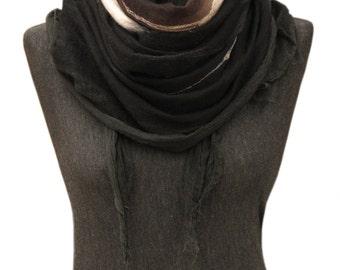 Silk felt scarf Dark brown women shawl, Felted wrap scarf Merino wool winter scarf Nuno felted scarf Boho silk wrap Unique handmade gift,