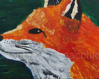 Original painting with acrylics and watercolors on photo paper 10 x 15 cm Red Fox Portrait