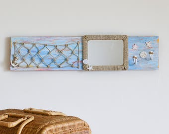 Blue White Wall Key Holder with Mirror, Beach Wall Decor, Mail Organizer Wall, Key Holder for Wall, Rustic Wood Key Hooks, Key Hanger Anchor