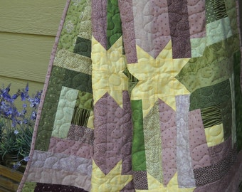 Log Cabin With Stars Lap Quilt, Purple, Green, Yellow Throw Quilt, Handmade, 100% Cotton, Wallhanging