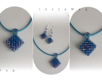 Pendant & earrings set, made of Capri blue Matt and tanzanite AB Czech glass crystals/gift/