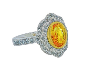 Fancy Yellow Sapphire (2.35 ct.) and Diamond (0.77 ct.) 18K Gold Ring