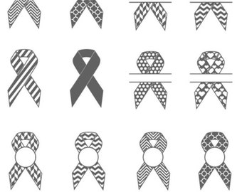 AWARENESS RIBBON Svg Files, Silhouette,Breast Cancer Ribbon SVG Monogram frame- Eps, Dxf, Png-use with Cricut & Silhouette.