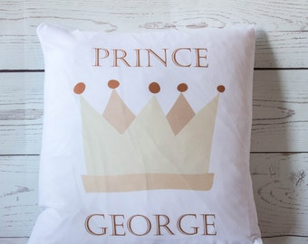 "Personalised Prince (any name) 16"" white cushion/pillow cover chic nursery"