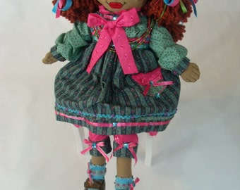 african american doll, fabric doll, handmade cloth rag doll, ooak doll MALIYAH (Approx. 31 in.) from Black Pearls Doll Collection