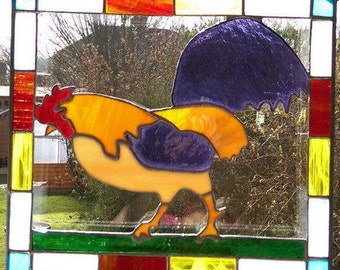 Stained Glass Rooster Suncatcher / Panel