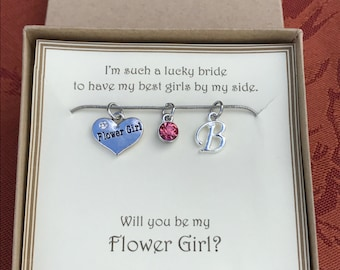 Will you be my Flower Girl Necklace - C208 - Personalized Gem Stone - Personalized Wedding Necklace - Personalized Initial of Flower Girl