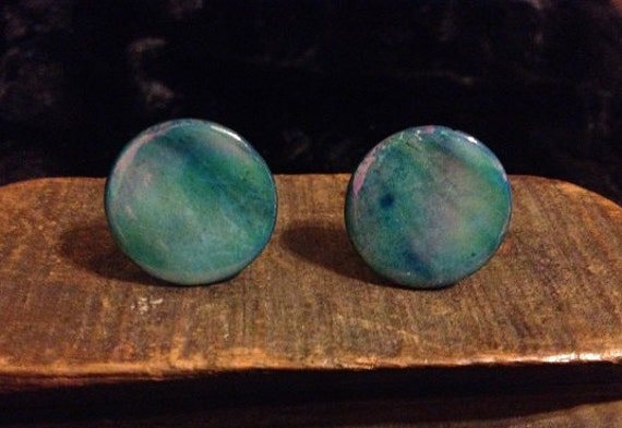 SALE Shell Cufflinks Made from Unique Blue Dyed Shells