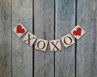 valentines banner, XOXO banner, wedding photo prop, valentines day decorations, love banner, valentine decorations, valentines garland, sign