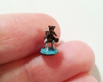 Tiny Teddy Bear sitting on the chair - Micro miniature. OOAK