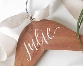 Bridesmaid Hangers - calligraphy hanger, hand lettered hanger, bridesmaid gift, wood hanger, cedar hanger, modern calligraphy hanger