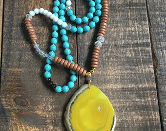 Yellow Agate & Turquoise Beaded Necklace