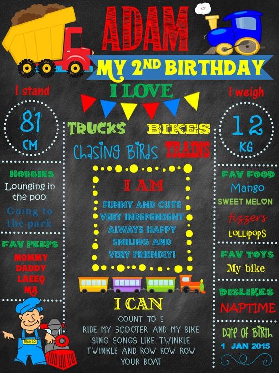 Trains, trucks,colorful,1st Birthday chalkboard, first birthday, first birthday chalkboard, personalized, digital file, birthday chalkboard