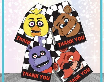 Five Nights at Freddys Thank You Tags Party Favor FNAF Birthday