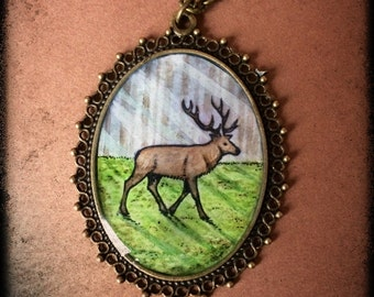 hand painted deer pendant resin forest original miniature art nature
