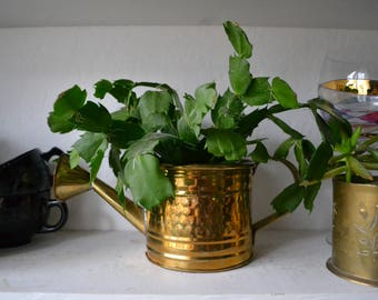 Vintage Hammered Brass Watering Can or planter