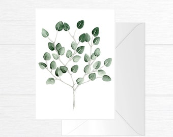 Card with branches of eucalyptus illustration / watercolor and pencil in format 5 x 7 / minimalist Style