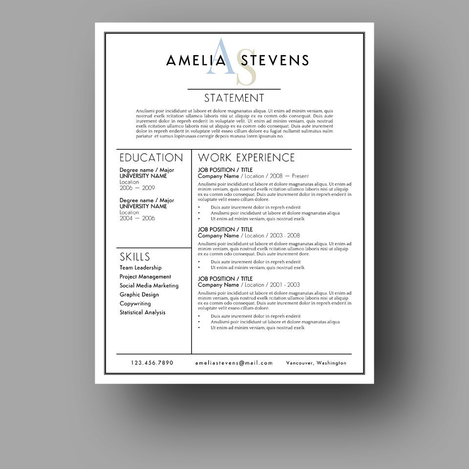 Modern Resume Template Cover Letter Use With Microsoft