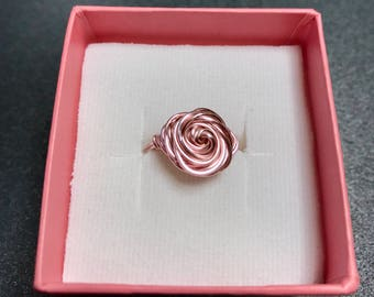 Size 5.5 - Pink rose ring with gift box and polishing cloth