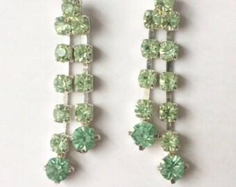 Vintage 1950's Pastel Green Rhinestone Silver Double Dangle Drop Long Earrings
