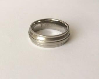 Vintage 8mm Titanium Beveled Edge, Ridged Satin & Polished Engagement Wedding Promise Ring Size Q